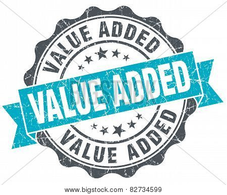 Value Added Vintage Turquoise Seal Isolated On White