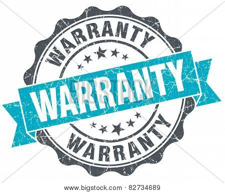 Warranty Vintage Turquoise Seal Isolated On White