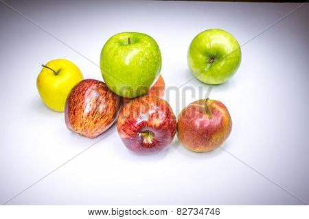 Fresh Lucky Seven Multicolored Apples Painted In Light