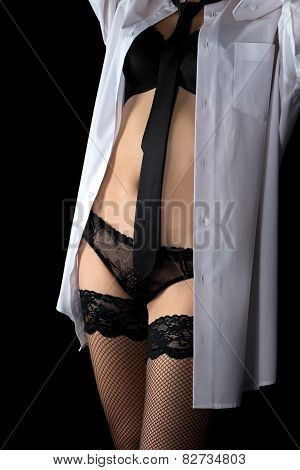 Woman in men's shirt and lingerie