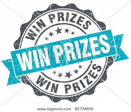 Win Prizes Vintage Turquoise Seal Isolated On White