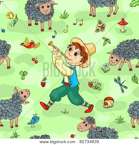 Seamless Pattern With Shepherd-boy