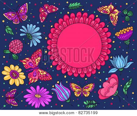 Card With Butterflies And Flowers Dark Blue