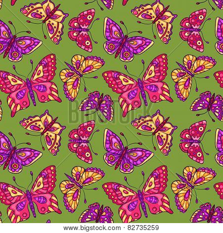 Seamless Pattern With Butterflies On Green