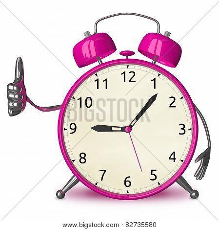 Pink Alarm Clock Giving Thumb Up