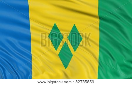 3D flag of Saint Vincent and the Grenadines