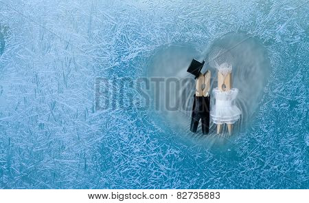 Romantic Couple. Man, Woman In Frozen Heart. Groom And Bride. Frozen Glass. Ice Flowers. Valentines