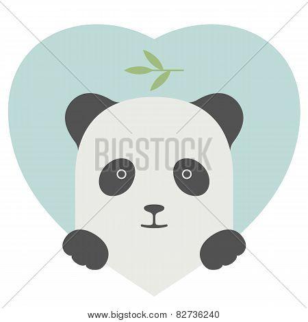 Animal set. Portrait of a panda in love over heart backdrop