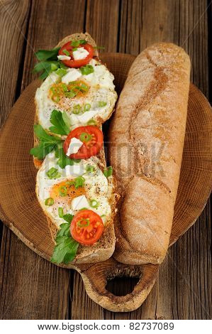 Rye Bread Egg Bruscetta With Tomatoes, Cheese And Greens