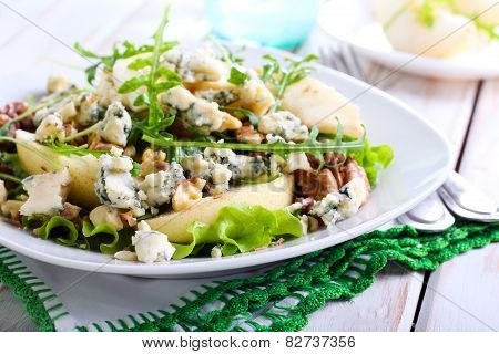 Pear, Blue Cheese And Nut Salad