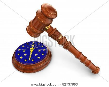 Wooden Mallet and flag Of Indiana (clipping path included)