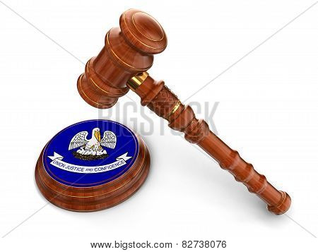 Wooden Mallet and flag Of Louisiana (clipping path included)