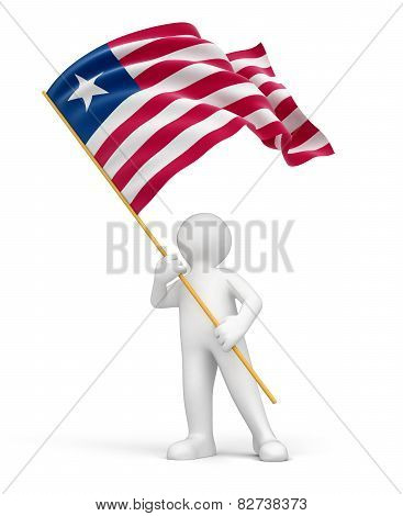 Man and Liberia flag (clipping path included)