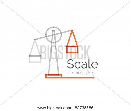 Line minimal design logo, business icon scale