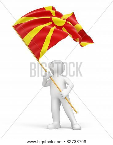 Man and Macedonian flag (clipping path included)