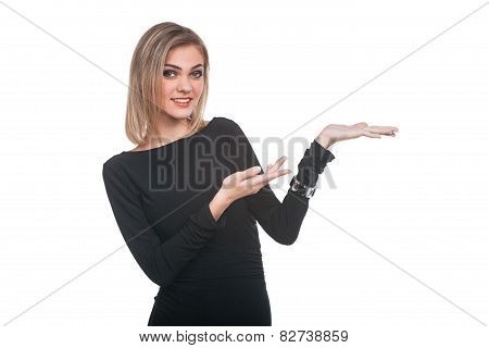 Woman presenting something on white background