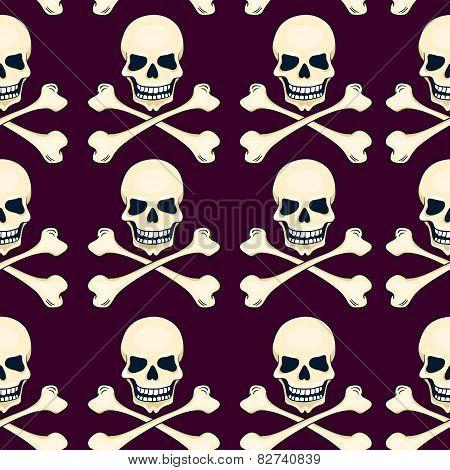 Cartoon Skulls Seamless Vector Pattern