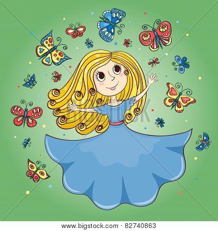 Cartoon Girl And Butterflies