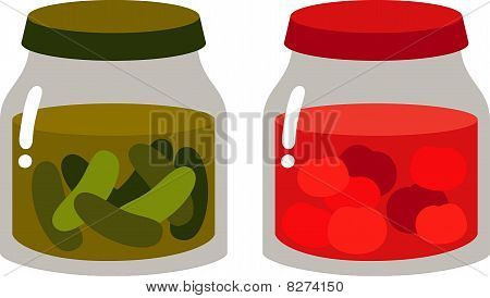 canned tomatoes and cucumbers