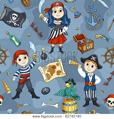 Cute Pirates Blue Seamless Pattern