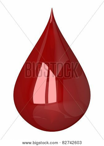 Red Blood Drop Isolated