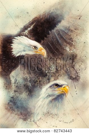 American Bald Eagle On An Abstract Background