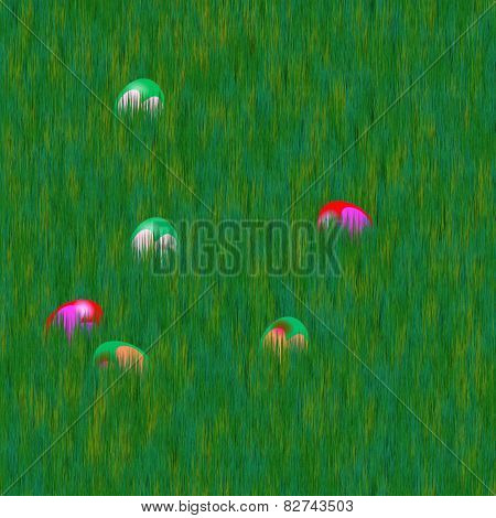 Easter eggs hidden in grass lawn - computer generated seamless background