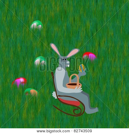 Gray rabbit on rocking chair front grass lawn with hidden easter eggs