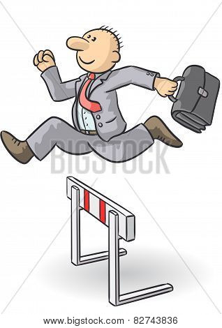 Person Jumps An Obstacle