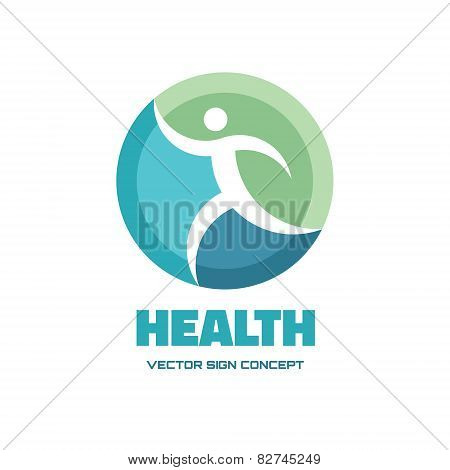 Health - vector logo concept illustration. Human vector logo. Running man vector sign.