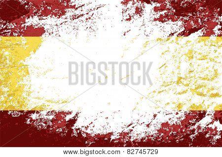 Spanish flag. Grunge background. Vector illustration