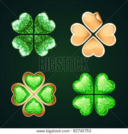 Vector Golden Four-leaf Clovers Set4