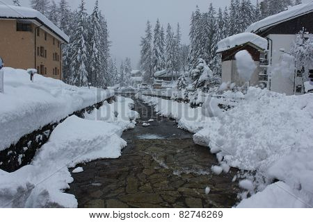 Tree branches, torrent and houses covered with snow