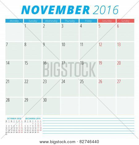Calendar 2016 Vector Flat Design Template. November. Week Starts Monday