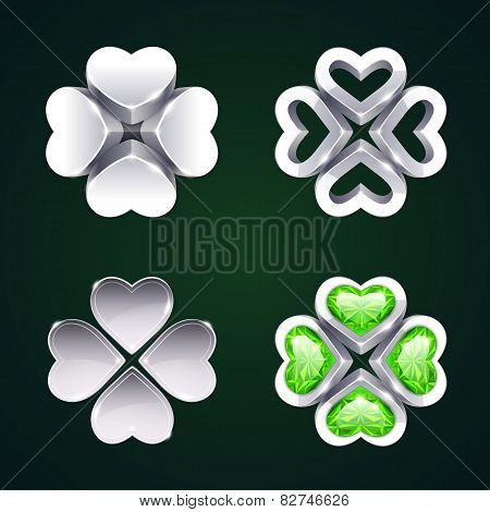 Vector Silver Four-leaf Clovers Set2