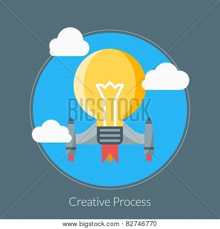 Flat Design Concept For Creative Process. Vector Illustration For Web Banners And Promotional Materi