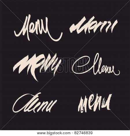 Vector set of calligraphic menu headlines.