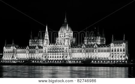 Black and White high contrast Hungarian Parliament
