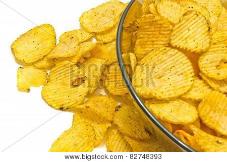Glass Plate With Ruffles Chips