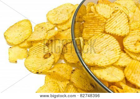 Plate With Ruffles Chips On White