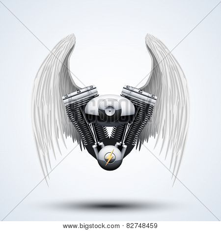retro motorcycle engine with White folded wings