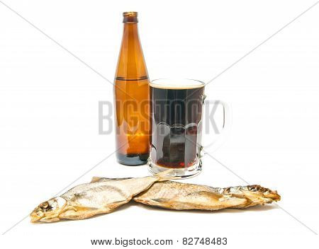 Dark Beer And Two Salted Fishes On White