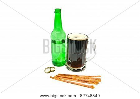 Mug Of Beer And Fish Snack On White