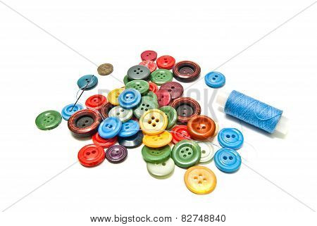 Colored Buttons And Spool Of Thread