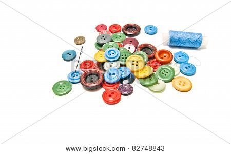 Different Buttons And Spool Of Thread
