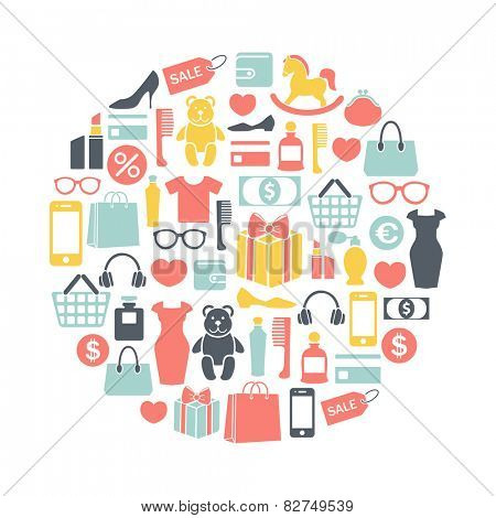 round design element with shopping icons