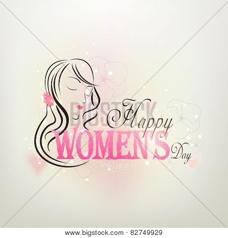 International Women's Day celebration greeting card design with beautiful girl face on shiny grey background.
