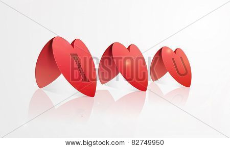 Red shiny paper folded hearts with text I Love You for Happy Valentine's Day celebration on white background.