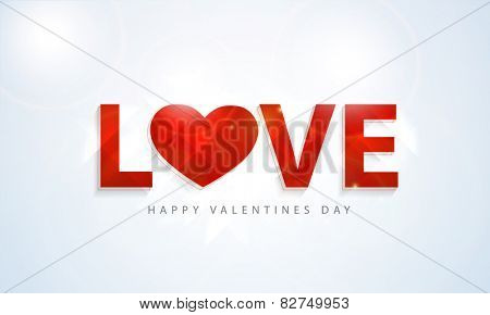 3D red text Love with heart on shiny blue background for Happy Valentine's Day celebrations.