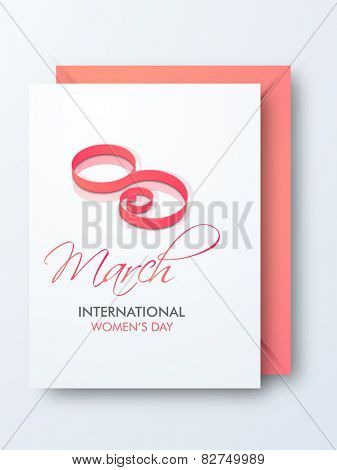 Happy International Women's Day celebration greeting card with envelope.